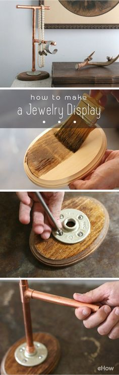 Rustic and functional! DIY your own jewelry display that is worthy of space on your dresser. All you need is standard plumbers copper pies and fittings to organize and show off your favorite pieces! How to instructions here: http://www.ehow.com/how_4813294_own-jewelry-display.html?utm_source=pinterest.com&utm_medium=referral&utm_content=inline&utm_campaign=fanpage