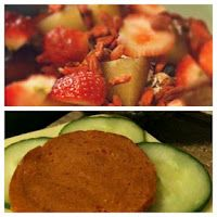 Reginas Frühstück und Mittagessen: Yofu mit Müsli und Obst und ein Brötchen mit Wilmersburger und Chorizo