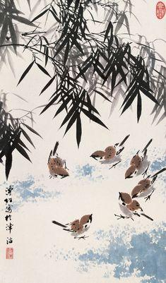 Japanese Ink Painting, Sumi E Painting, Japanese Watercolor, Japan Painting, Watercolor Art, Chinese Painting Flowers, Chinese Drawings, Art Chinois, Art Asiatique