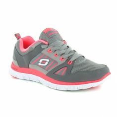 Skechers Flex Appeal Spring Fever Womens Memory Foam Trainers - Charcoal & Hot Pink
