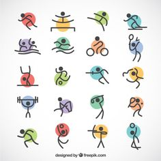 Minimalist olympic sports with colored circles Free Vector Olympic Icons, Olympic Sports, Olympic Games, Doodle Icon, Doodle Art, Verre A Vin Design, Logo Esport, Icon Design, Logo Design