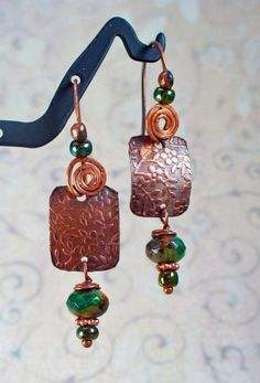 Swirl Flower Stamped Copper Earrings w Jade Agate Swirl Picasso Beads