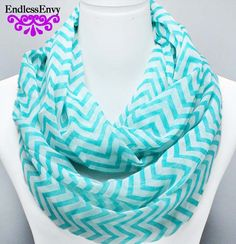 Mint & White Chevron Infinity Scarf