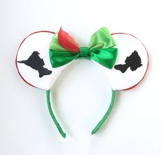 Peter Pan Mickey Ears, Peter Pan and Wendy Mickey Ears, Peter Pan Silhouette, Disney Inspired Peter Pan Ears, Mickey Ears Headband by ToNeverNeverland on Etsy https://www.etsy.com/listing/246315947/peter-pan-mickey-ears-peter-pan-and