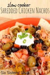 Six Sisters Slow Cooker Shredded Chicken Nachos are so delicious. A family favorite appetizer!