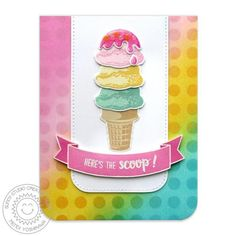 Sunny Studio Two Scoops Layering Ice Cream Card with Polka-dot Background by Mendi Yoshikawa Scrapbook Albums, Scrapbook Cards, Scrapbooking Ideas, Sunnies Studios, Studio Cards, Polka Dot Background, Bird Cards, Cards For Friends, Cards