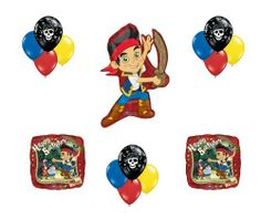 """Jake & the Neverland Pirates Happy Birthday Party Balloon Set Disney by Anagram. $12.99. 15 piece balloon Set includes: (1) 33"""" Jake shaped balloon from the Disney TV Show - he's got his sword!! (2) 18"""" square shaped balloons with Happy Birthday Message and friends Captain Hook and Smead (3 each) 11"""" Qualatex latex balloons with Blue, Yellow, Red and Black Pirate"""