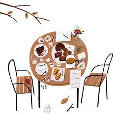 산그림 작가의 개인 갤러리 입니다. Autumn Illustration, Cute Illustration, Winnie The Pooh Tattoos, Kawaii Doodles, Book Drawing, Illustrations And Posters, Beautiful Artwork, Cute Art, Art Inspo