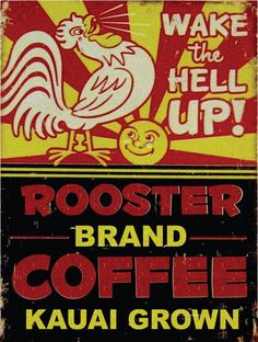 Rooster Brand Coffee Metal Sign, Kauai Grown, Kitchen, Cafe, Tropical Decor #OMSC #Contemporary