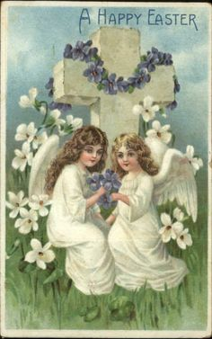 Easter - Pretty Angels Decorate Cross w/ Flowers c1910 Embossed Postcard #2