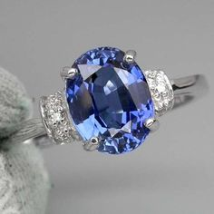 A Stunning Vintage Natural 2.4CT Oval Cut Blue Sapphire Promise Engagement Anniversary Wedding Ring Size 7.25