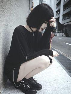 dark fashion black hair dark make-up