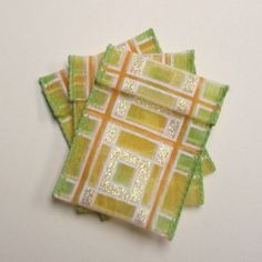 Jewelry Bead Pouches  10 Orange Green Yellow by ksewingbasket, $4.00