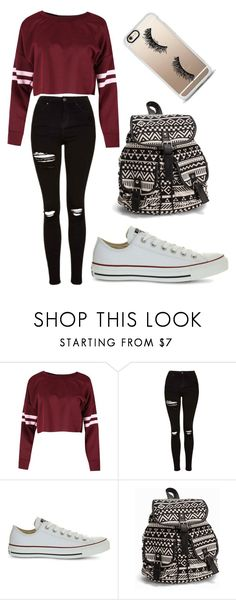 """varsity stripes"" by fashionblogger2122 on Polyvore featuring Topshop, Converse, NLY Accessories and Casetify"