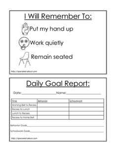 My weekly behavior checklist for students' social and academic ...