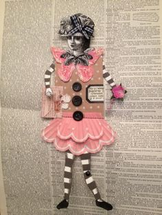 Paper doll created with Character Constructions art stamps.