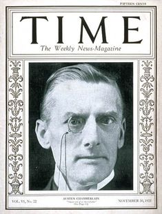TIME Magazine Cover: Austen Chamberlain - Nov. 30, 1925 - Great Britain