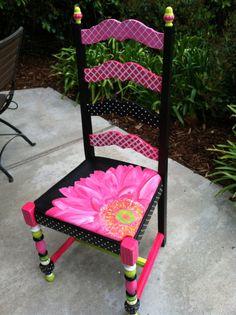 Hand Painted Gerbera Daisy Chair
