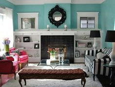 Aqua and brown color palette is a great color combo that you may apply to enhance the visual look of your living room. By employing a nice combination of color like Aqua and brown, the home owners will be able t