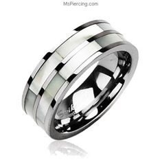 Tungsten Carbide Ring With Dual Mother Of Pearl Inlays #mspiercing #piercings