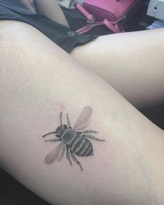 Single needle bumblebee tattoo by East Iz