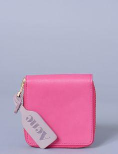 amber leather zip wallet