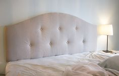 DIY Upholstered tufted headboard | Jenna Sue Design Blog, best directions on covering or making a headboard.