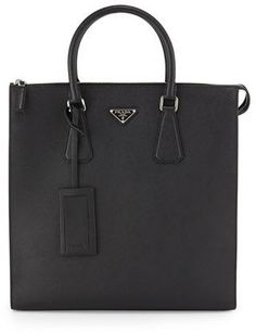 Prada Saffiano Leather Zip-Top Tote Bag