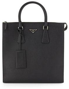 Prada Saffiano Leather Zip-Top Tote Bag