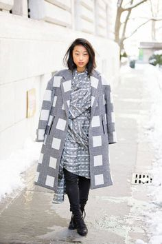 Margaret Zhang in a bold gray and white Topshop coat and Acne boots #NYFW #streetstyle #fashionweek