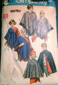 Simplicity 8467 1960s Mens Womens CAPE  and PONCHO great costume for stage halloween dracula hippie vintage sewing pattern  by mbchills