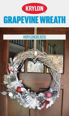 Add a warm welcome to your front door for the holidays! Create a grapevine wreath with colors and finishes from Krylon that are perfect for the winter season! Click the pin and make your own!