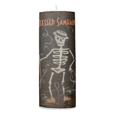 Antique Skeleton Samhain Pillar Candle - diy cyo customize create your own personalize