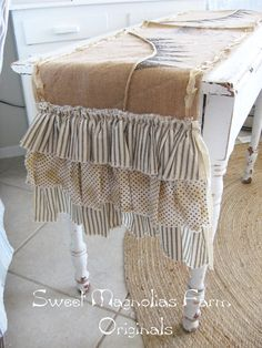 "Items similar to Burlap and Lace Table Runner - ""Harvest Blessings"" - Fall - Autumn - Ruffles - Hay Wagon - Pennant Banner - Rustic Romance on Etsy Burlap Projects, Burlap Crafts, Fabric Crafts, Diy Projects, Shabby Chic, Burlap Table Runners, Fall Table Runner, Burlap Lace, Hessian"