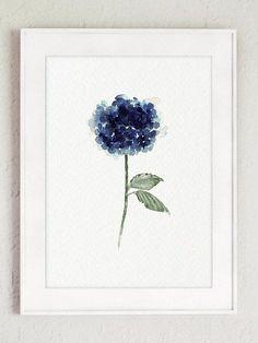 Hydrangea Flowers Painting Navy Blue Watercolor Art Print #watercolorarts