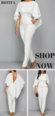 Zipper Closure White Open Back Jumpsuit.Solid white jumpsuit,you deserve it. Wedding Jumpsuit, African Dress, I Dress, African Fashion, Fashion Forward, Ideias Fashion, Fashion Dresses, Cute Outfits, Clothes For Women