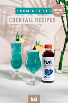 Planning a tropical adventure? Mix these 4 tropical and delicious cocktails made with 5 calorie Bai. These recipes are perfect to enjoy on Spring Break! Bar Drinks, Cocktail Drinks, Beverages, Drinks Alcohol Recipes, Alcoholic Drinks, Drink Recipes, Shake, Summertime Drinks, Protein