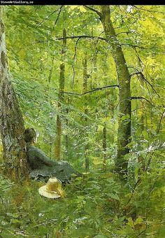 Anders Zorn    Emma i barbizonskogen.  Emma in the Barbizon woods.  His wife.