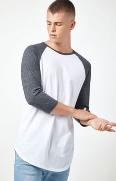 95f69f3d929f4d Details about New PacSun Mens White Black 3 4 Sleeves Scallop Fit Long  Sleeve T-Shirt Size XL