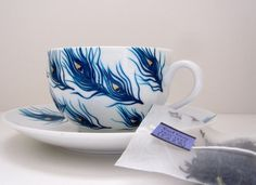 Peacock Feathers Teacup and Saucer