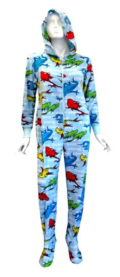 Dr Seuss One Fish Two Fish Hooded Onesie Footie Pajama One fish, two fish, red fish, blue fish. If you are a fan of the late, g...
