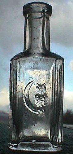 bottles.quenalbertini: Rare Antique Owl on Moon Bottle |  Etsy