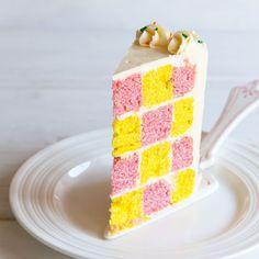 This Checkerboard Cake is such a fun idea for birthdays! This Checkerboard Cake is such a fun idea for birthdays! Desserts Ostern, 13 Desserts, Make Ahead Desserts, Checkered Cake, Fluffy Buttercream Frosting, Checkerboard Cake, Geometric Cake, Cake Recipes, Dessert Recipes