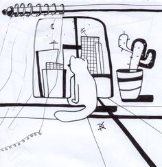 Picture: Cat TV  #illustration #picture  #cat #home #pics #art  daaashiky@gmail.com