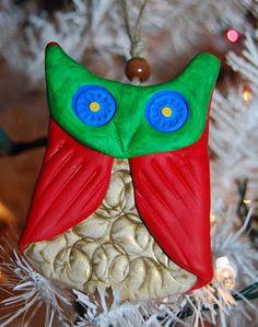 easy to make owl Christmas tree ornament.