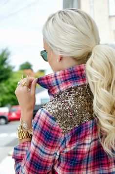 plaid sequin button down top gold watch bracelets preppy cowgirl wavy ponytail style