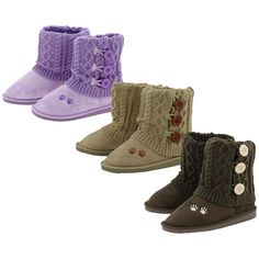 These mid rise knit boots are as cute as they are cozy! A faux-suede exterior surrounds your feet with a warm fuzzy lining, topped off with a knit fold-over layer with cute button accents. A single paw print on the foot of the boot displays the cause
