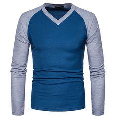 16c73d5814d Big Size Cotton T Shirt Spring Autumn Fashion Mens T-Shirt Homme Men s Long  Sleeved V-Neck Patchwork Color Casual T-Shirts
