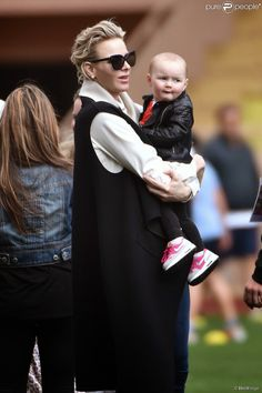 "Princess Charlene of Monaco attended the 5th edition of the ""Saint Devote Rugby Tournament"" on April 11, 2015 in Monaco."