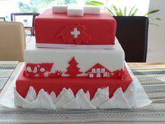 Des montagnes, du rouge, du blanc et des vaches Swiss National Day  cake @ Ribizli Fab Cakes, Sweet Cakes, Swiss National Day, Swiss Recipes, Birthday Wishes Cake, Cake Quotes, World Thinking Day, Dinosaur Cake, Creative Cakes